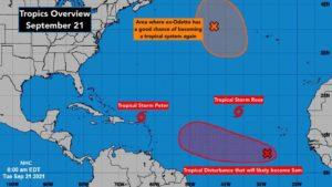 Tropical Disturbance Near Africa Goes West